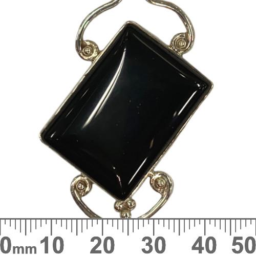 Diagonal Flat Onyx Sterling Silver Pendant