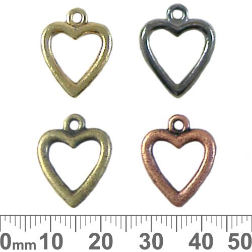 BULK Small Open Heart Metal Charms