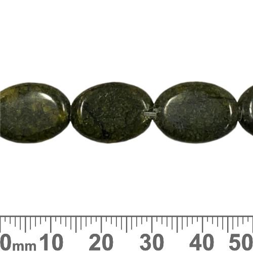 Russian Serpentine 18mm Flat Oval Beads