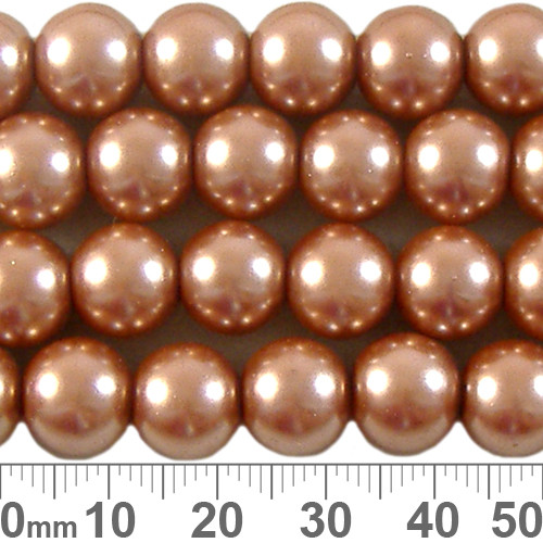 CLEARANCE 10mm Peach Glass Pearl Strands
