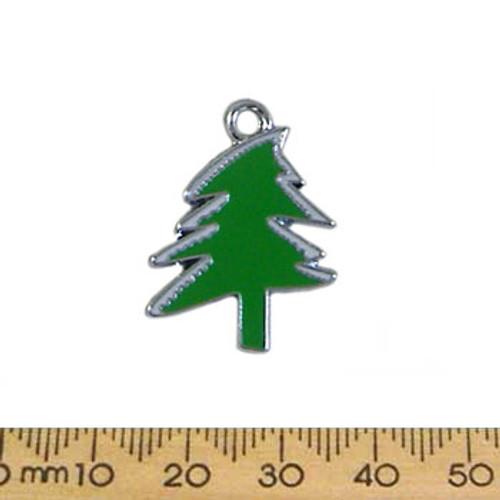 Green Christmas Tree Enamel Metal Charm