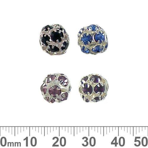 10mm Silver Sparkly Coloured Diamante Metal Ball