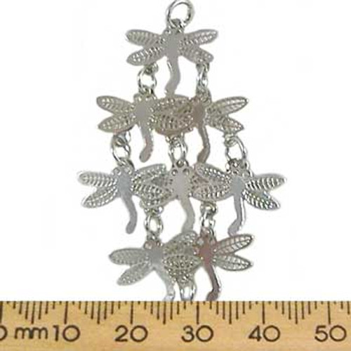 Cascading Dragonfly Base Metal Pendant