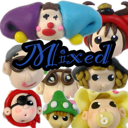 Mixed Character Head Clay Beads