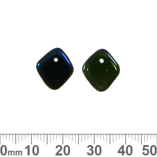 Tip Drilled Diamond Shape Green/Blue Glass Bead