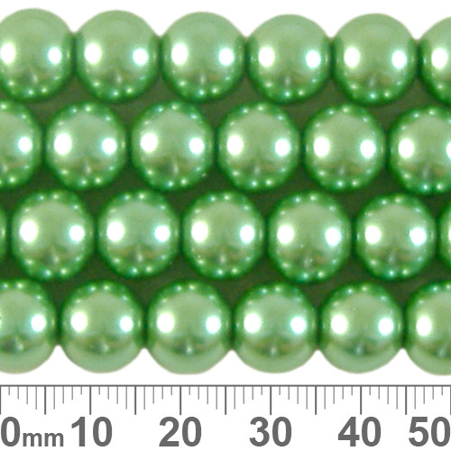 CLEARANCE 10mm Medium Green Glass Pearl Strands