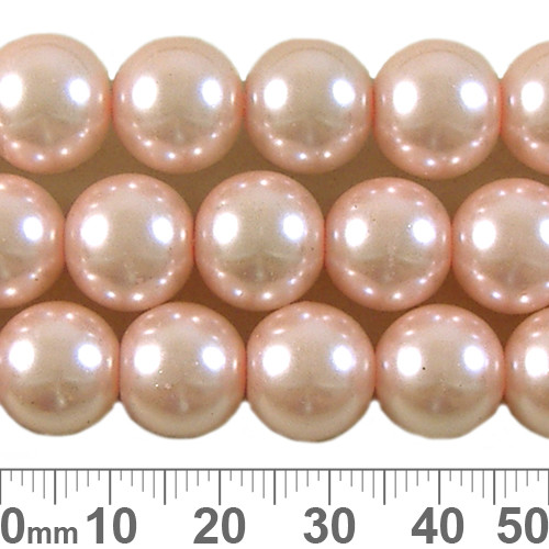 12mm Pale Pink Glass Pearl Strands