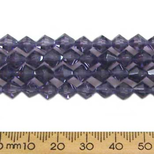 Tanzanite Purple 6mm Bicone Glass Crystal Strands