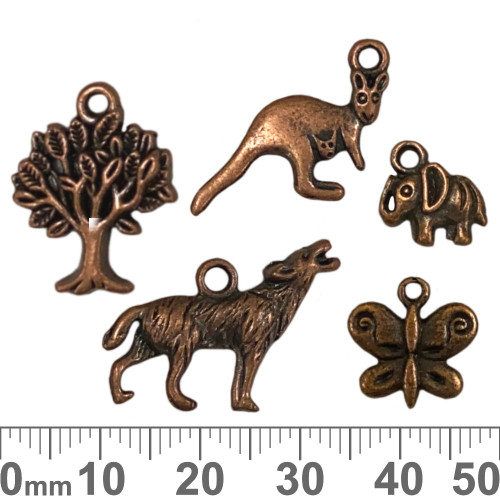 CLEARANCE Copper Metal Charm Mixed Pack - Animals