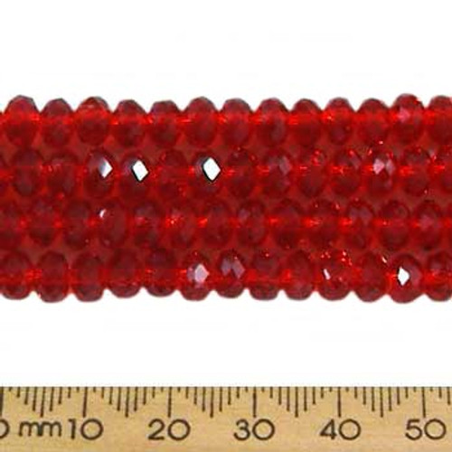 Dark Siam Red 5mm Rondelle Glass Crystal Strands