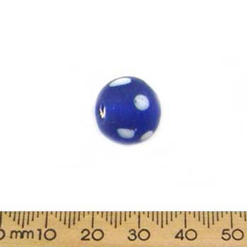 Dark Blue/White Spot Large Frosted Round Glass Beads