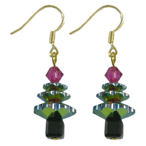Swarovski Vitrail Christmas Tree Crystal Earrings Kit