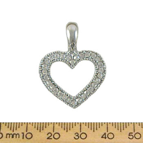 21mm Diamante Open Heart Metal Pendant