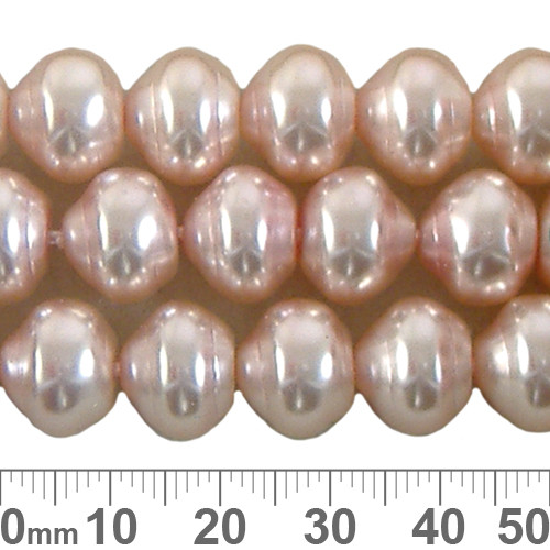 CLEARANCE 12mm Pale Pink Ringed Czech Glass Pearl Strands
