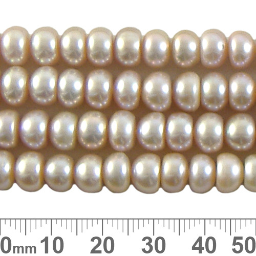Pink 7mm Button Pearl Strands