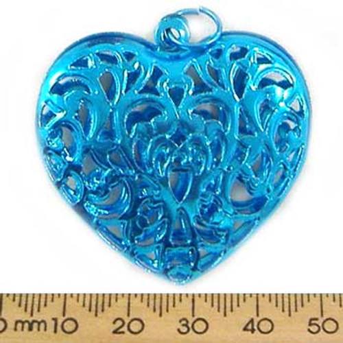 Pressed Filigree Metal Heart Pendant