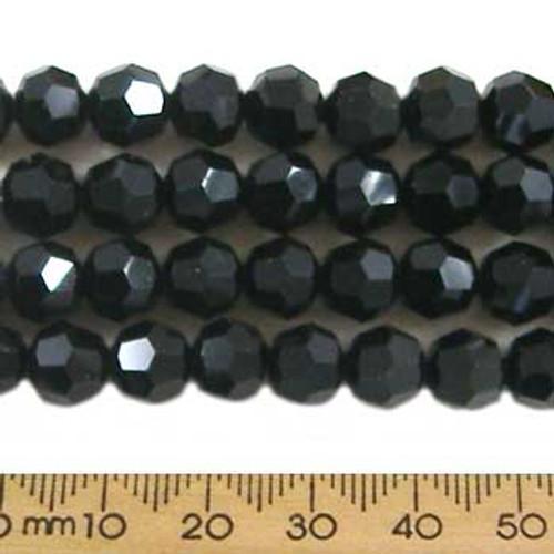 Jet Black 8mm Round Glass Crystal Strands