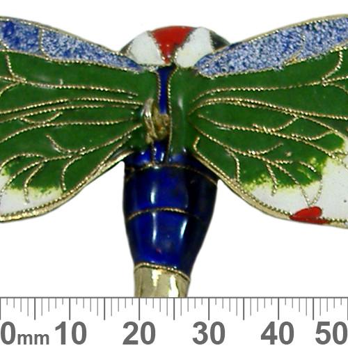 Green/Dark Blue/White Cloisonne Dragonfly