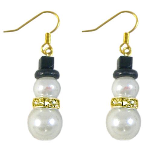 Glass Pearl Snowman Earrings Kit