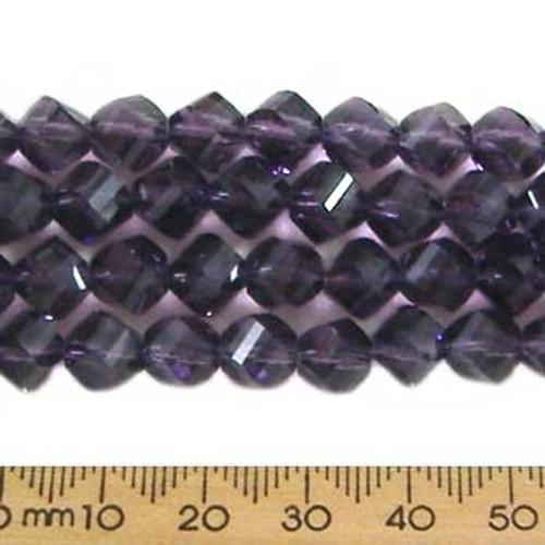 Dark Tanzanite Purple 7mm Helix Glass Crystal Strands