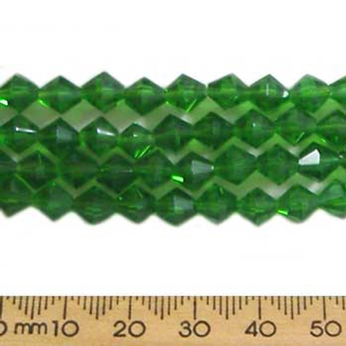 Chrysolite Green 6mm Bicone Glass Crystal Strands