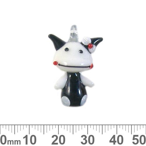 Black/White Cow Glass Charm