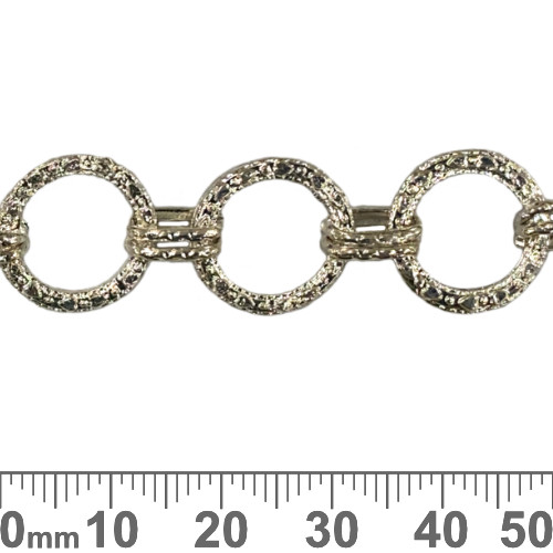 Bright Silver 14mm Large Round Patterned Chain