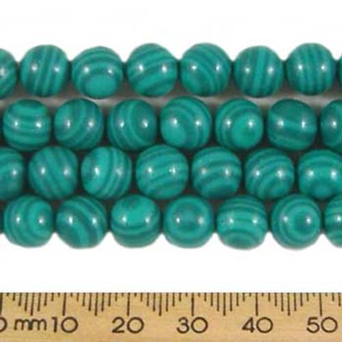 Manmade Malachite 8mm Round Beads