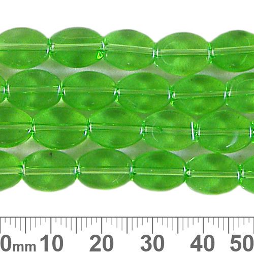 10mm Green Small Flat Oval Glass Bead Strands