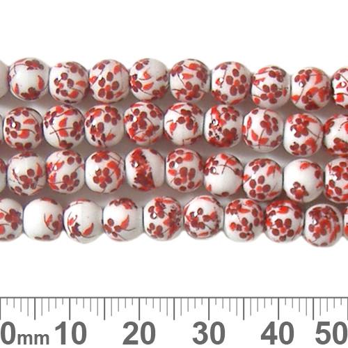 6mm Round Red Sakura Ceramic Bead Strands