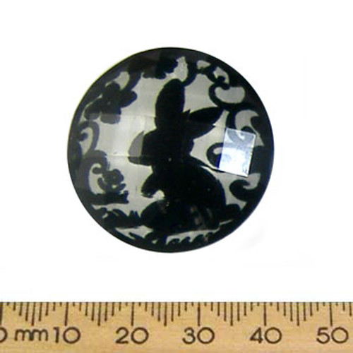 31mm Bunny Faceted Resin Round Cameo