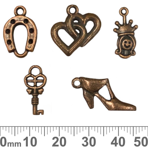 CLEARANCE Copper Metal Charm Mixed Pack - Lucky Hearts