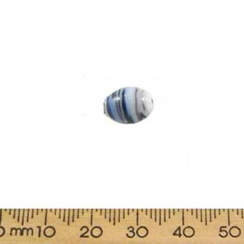 Black/Blue Opaque Oval Glass Beads
