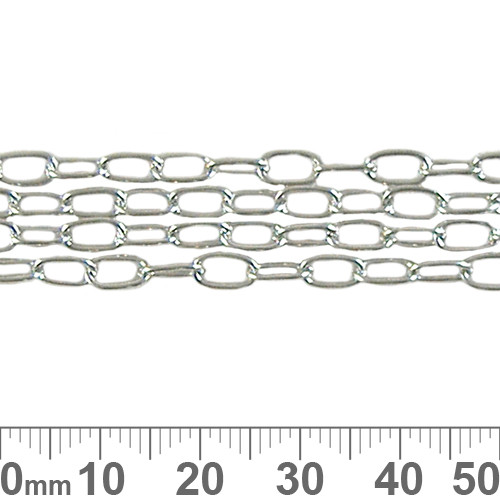 6.6mm Thin Long Loop Chain - Nickel