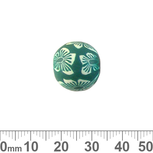 15mm Green Flower Round Clay Beads