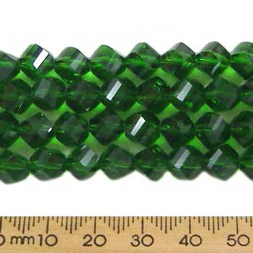 Emerald Green 7mm Helix Glass Crystal Strands