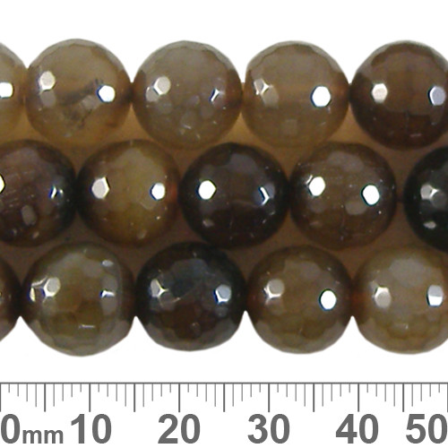 Coffee Dyed Agate 12mm Round Faceted Beads
