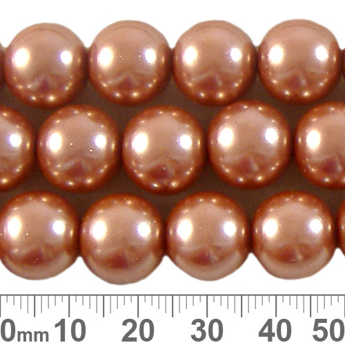 CLEARANCE 12mm Peach Glass Pearl Strands