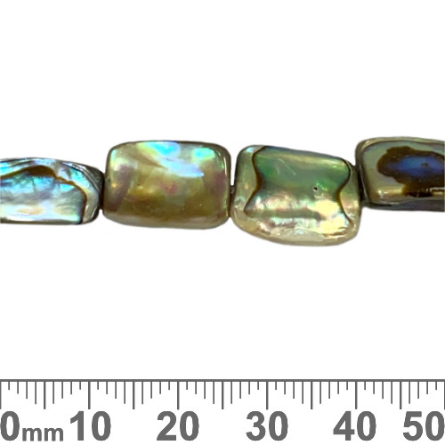 Paua Shell Triangular Cube Gemstone Beads