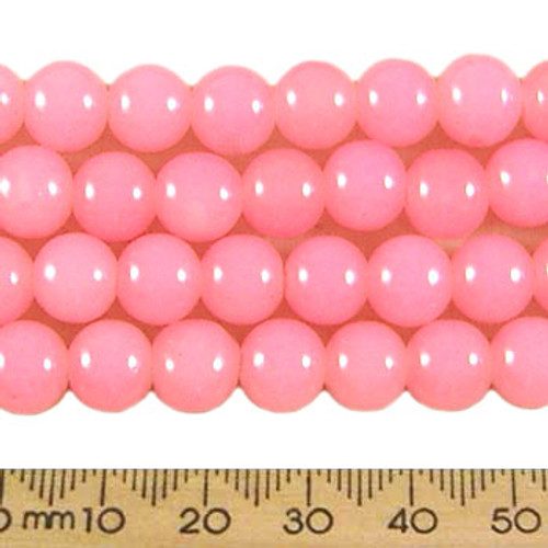 CLEARANCE BULK 10 x 8mm Round Pastel Pink Glass Bead Strands