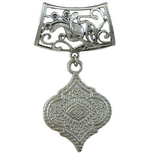 Antique Silver Vine Leaf/Lantern Scarf Bling