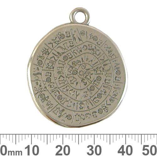 Silver Phaistos Coin Metal Pendant