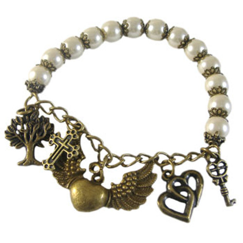 Bronze & Cream Pearl Elastic Bracelet Kit
