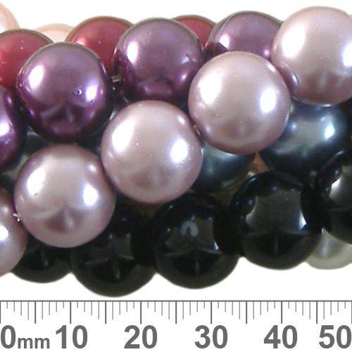 BULK Mixed 12mm Glass Pearl Strands