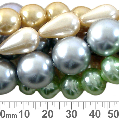 BULK Mixed Czech Glass Pearl Strands