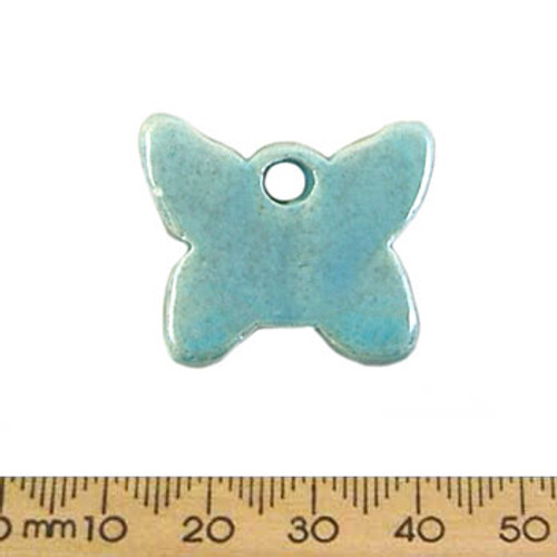 28mm Teal Butterfly Ceramic Pendant