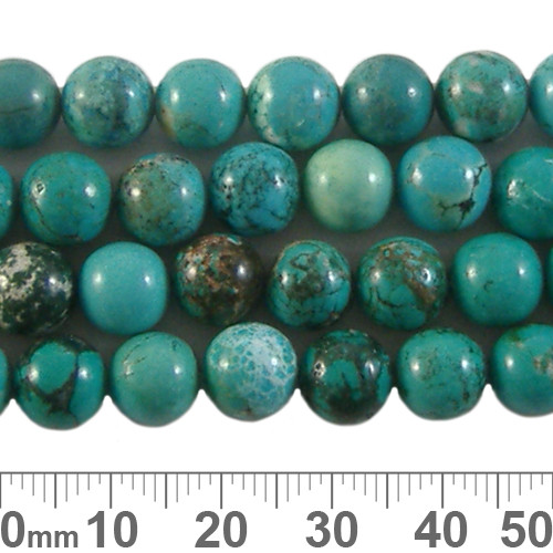 Stabilised Turquoise 8mm Round Beads
