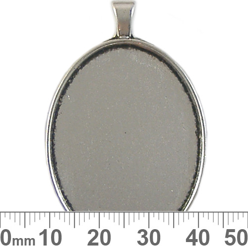 40mm Plain Oval Cameo Silver Setting