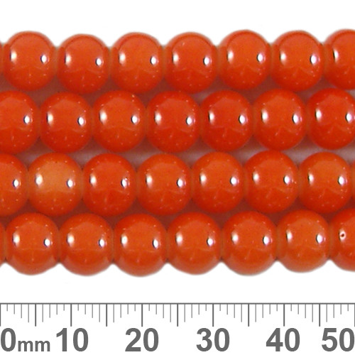 8mm Round Glossy Orange Glass Bead Strands