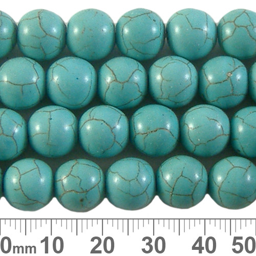 Turquoise Manmade Howlite 10mm Round Beads